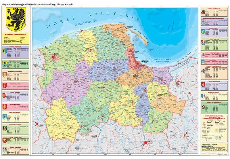 Wojewodztwo Pomorskie Scienna Mapa Administracyjna I Mapa Kaszub