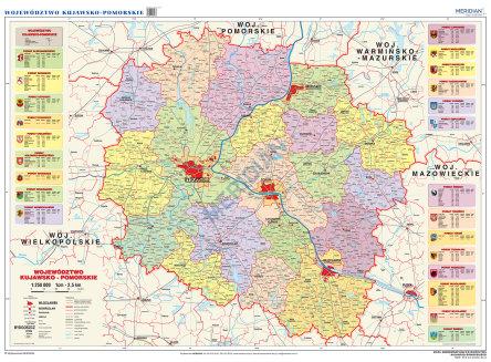 Wojewodztwo Kujawsko Pomorskie Scienna Mapa Administracyjna