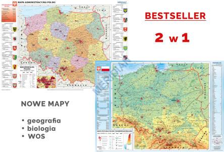 Duo Mapa Administracyjna Polski Polska Fizyczna Z Elementami