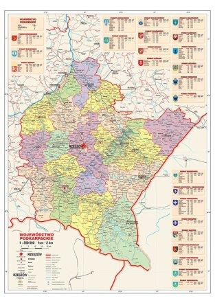 Wojewodztwo Podkarpackie Scienna Mapa Administracyjna