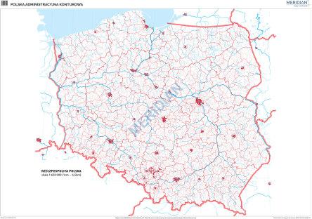 Mapa Konturowa Polski Administracyjna Cwiczeniowa Mapa Scienna