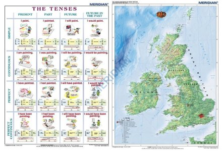 Szkolna mapa ścienna  DUO The tenses active voice / The British Isles Physical - dwustronna