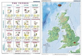 DUO The tenses active voice / The British Isles Physical - mapa ścienna i plansza gramatyczna