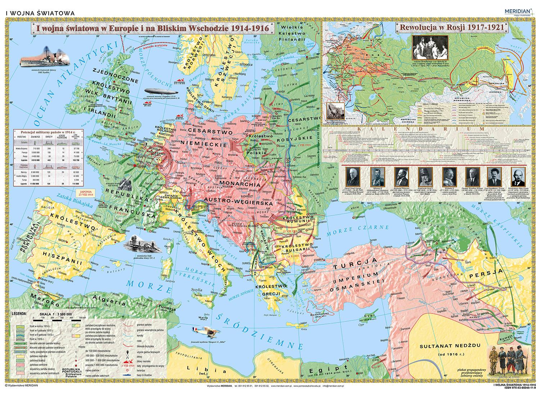 I Wojna Swiatowa 1914 16 Mapa Scienna