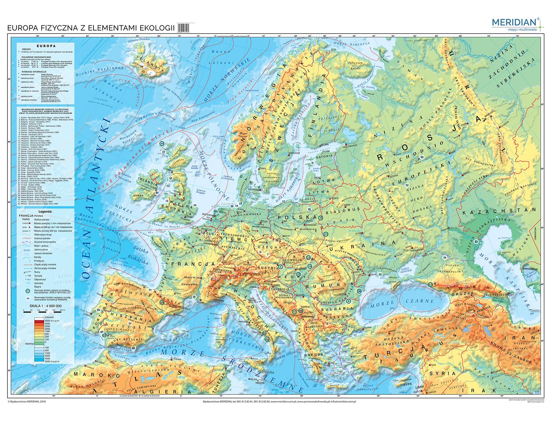 Mapa Fizyczna Europy Z Elementami Ekologii Mapa Scienna