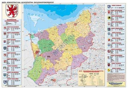 Wojewodztwo Zachodniopomorskie Scienna Mapa Administracyjna