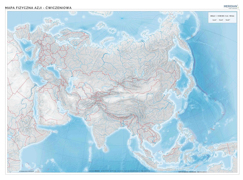 Mapa Fizyczna Azji Scienna Mapa Cwiczeniowa