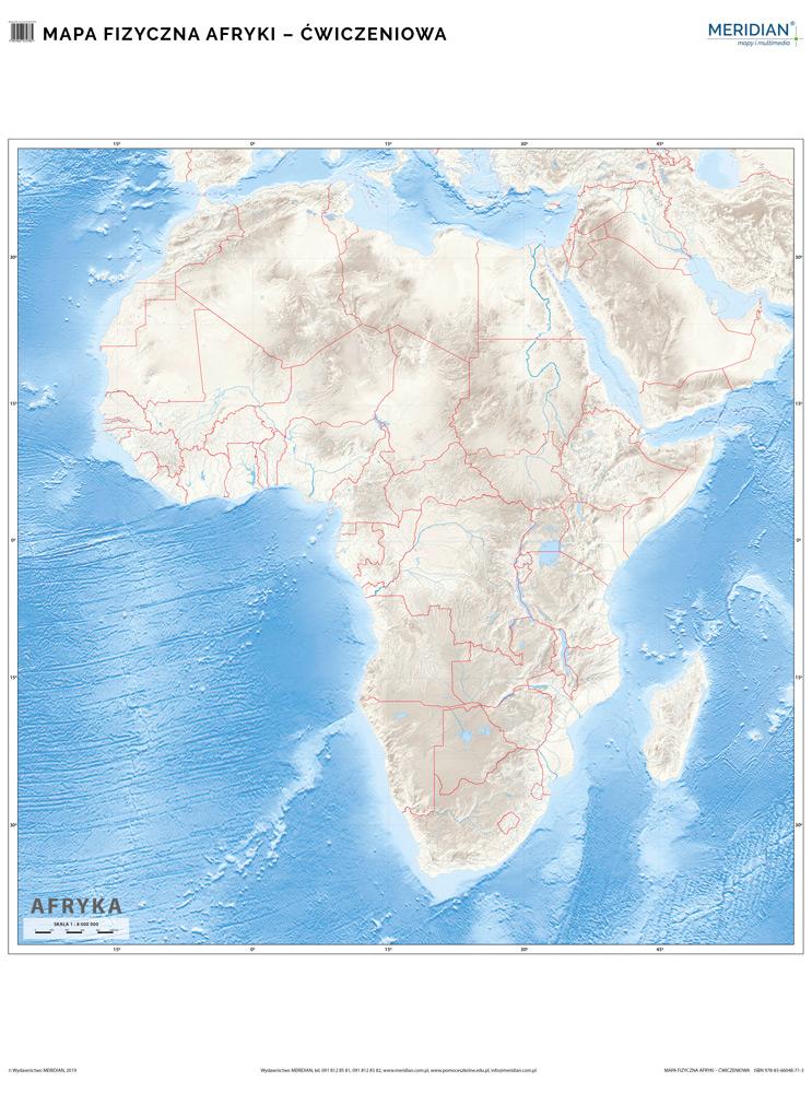 Mapa Fizyczna Afryki Scienna Mapa Cwiczeniowa