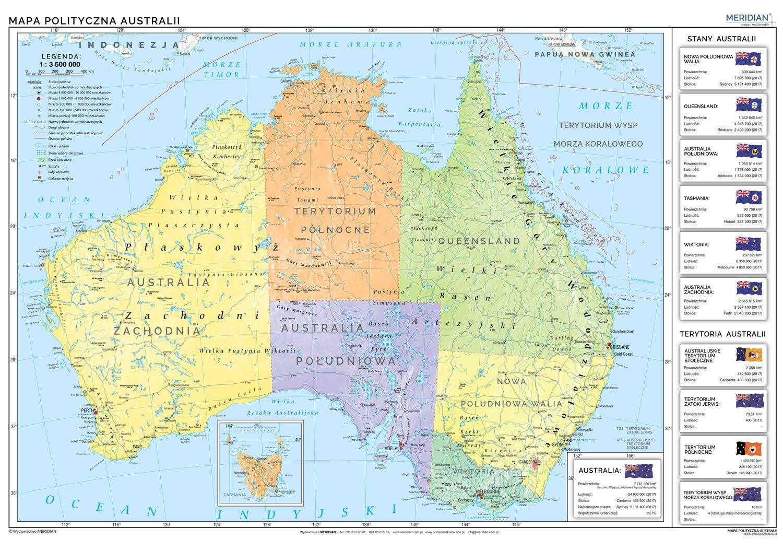 Australia Scienna Mapa Polityczna