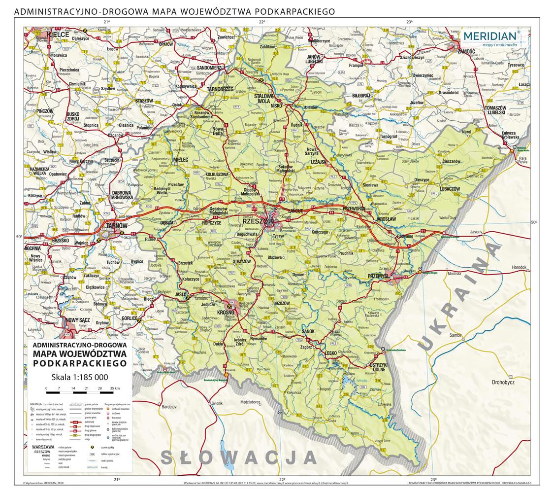 Wojewodztwo Podkarpackie Scienna Mapa Administracyjno Drogowa