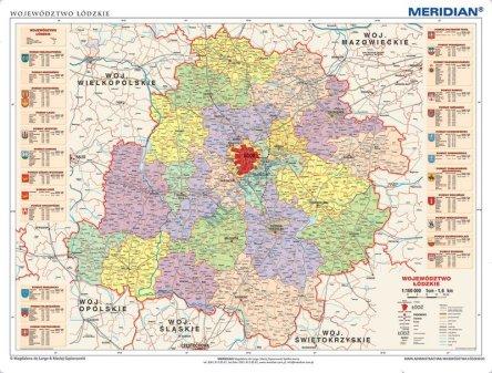 Wojewodztwo Lodzkie Scienna Mapa Administracyjna