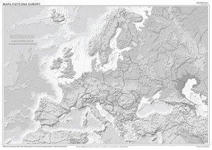 Mapa Konturowa Hipsometryczna Europy ćwiczeniowa Mapa ścienna