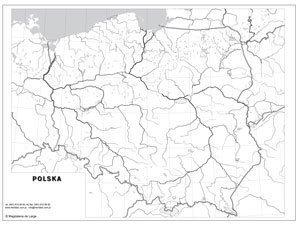 Mapa Konturowa Polski Administracyjna ćwiczeniowa Mapa ścienna